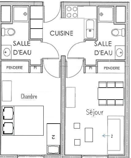 plan d'un appartement de 2 chambres
